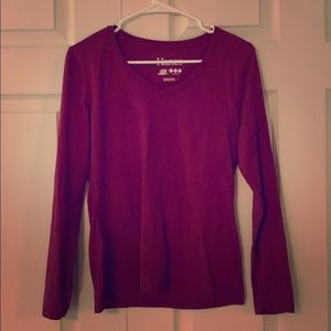 Hanes red v-neck long sleeve